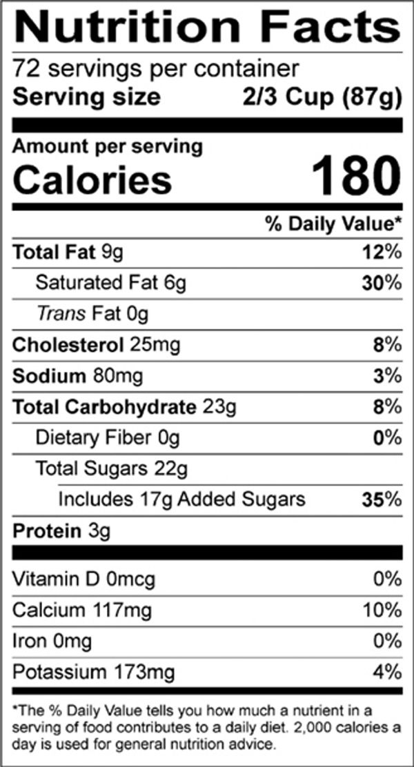 EZ Scoop Vanilla Nutrition Label